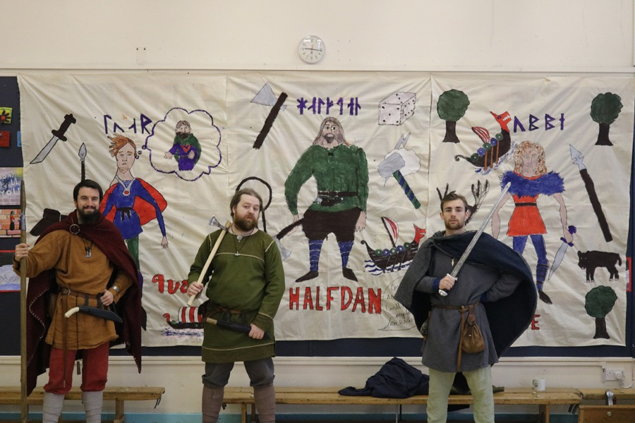 Viking reenactors at JORVIK school project