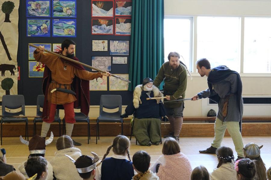 Viking reenactors at JORVIK school visit